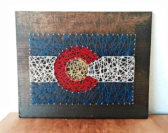 Colorado Flag String Art, Colorado Flag, Colorado Art, Colorado Gifts, Rustic Colorado, Colorado Sign, Colorado Pride, String Art