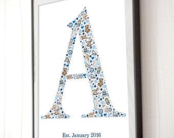 Custom Letter Art Print - Baby Initial Art - Custom Monogram Nursery Poster - Shower Gift