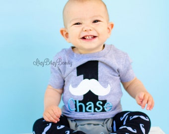 Boys first birthday mustache grey embroidered personalized shirt ANY AGE