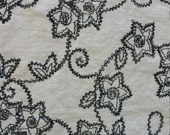 Light Upholstery Fabric Long Section Cotton Blend 98x34 inches Black Floral Print 1970s Sewing Home Decor Supply