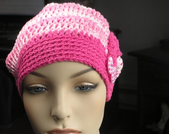 CROCHETED COTTON CHEMO Hat - Spring, Summer Chemo Hat - 100% Cotton - Strawberry Stripes and Bright Pink