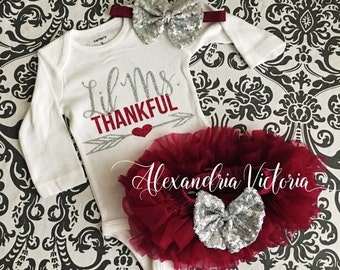 THANKSGIVING SET, Bodysuit, Tutu Bloomer & Headband,Lil Miss THANKFUL Outfit, Baby, Toddler, Girl, Maroon and Silver, All Around Ruffle.