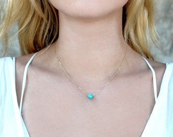 Dainty Raw Turquoise Gemstone Necklace / 14k Gold Sterling Silver Rose Gold Chain / Simple Short Tiny Layering Necklace / Bridesmaid Gift