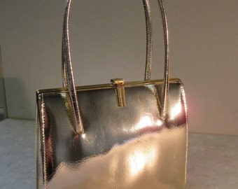Vintage 1950's Gold Leather Handbag Original Mirror - VERY Cute - Never Used!!