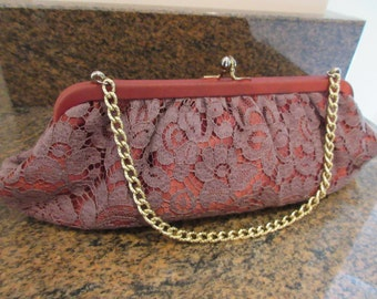 Vintage 1950's Handbag - Purple & Maroon - Lovely!!