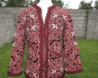 SALE! Vintage Tapestry Knit Red Black White Jacket Coat M