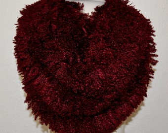 Women's Red Ultra Minky Faux Fur Infinity Scarf, Circle Scarf, Tube Scarf, Super Soft and Ready to Ship!