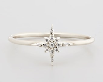 Starburst diamond cluster ring small, Star diamond pave ring in solid 14k 18k white gold, simple dainty stars stacking ring jewelry sb-r101