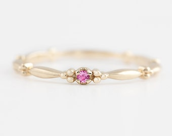 Tiny pink sapphire solitaire ring, 14k gold, rose gold, white gold, pink sapphire stack rings, pink sapphire stacking ring, stack-r106