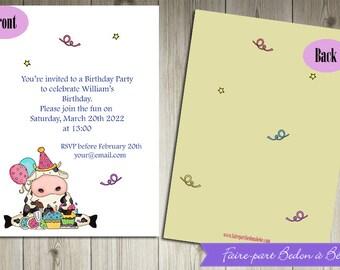 Personalized  Birthday party invitations MooMoo  - Digital printable file