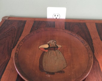 Vintage Antique Wood Plate