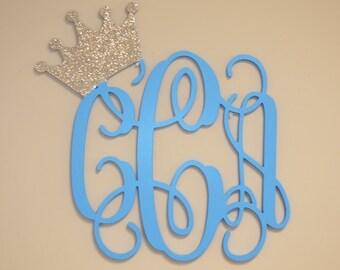 Nursery Wall Decor - Wall Art Monogram - Glittered princess crown monogram -royal monogram decor great for girls or boys - nursery decor