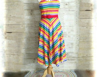 True Vintage Rainbow fit flare belted 70's stripe halter long dress maxi disco retro