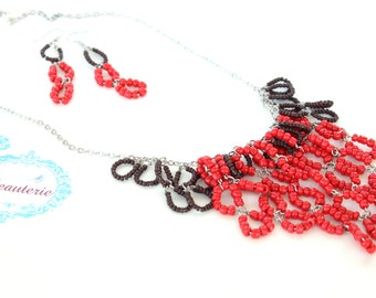 Red seed beaded necklace - Handmade necklace