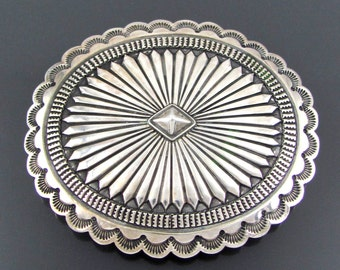 Large Bold Navajo Hand Stamped Solid Sterling Silver Concho Belt Buckle Made by Herbert Begay