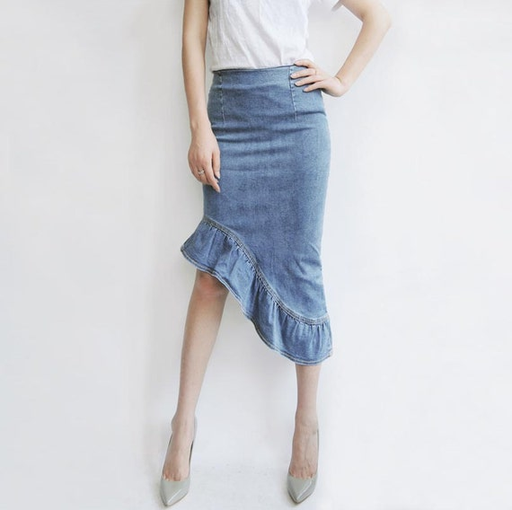 fishtail skirt midi skirtdenim skirtstretch denim by pppyesr