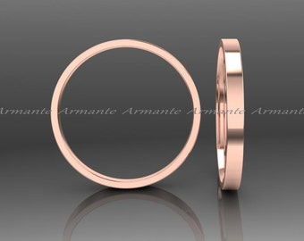 14k Rose Gold Wedding Band, Solid Gold Wedding Ring, Hand Made Wedding Band, Stuck Band, Womens Wedding Ring 2.00mm Wide