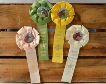 Vintage horse show ribbon; horse show award ribbon; equestrian award ribbon; pink, green, yellow, ivory