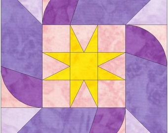 Star Swirl 15 Inch Block Paper Template Quilting Block Pattern PDF