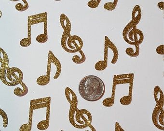 """Gold Music Notes Confetti, Table Confetti, Die Cut, Party, Table Scatter, karaoke Party, Birthday Music,  1"""" to 1-1/2""""  high"""