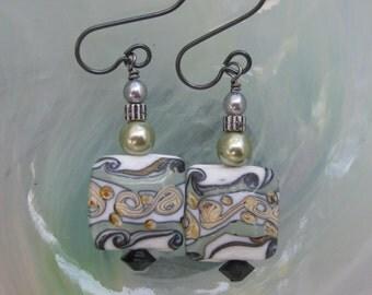 Green, Grey & More Lampwork Earrings