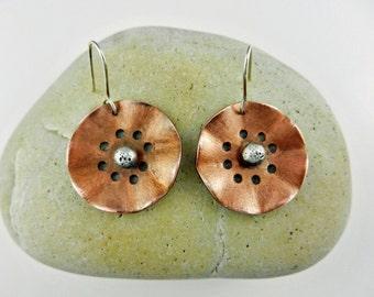 Copper and Silver Earrings ~ Flower Earrings ~ Copper Flowers ~ Oxidized Sterling Silver