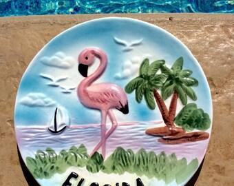Vintage Pink Flamingo, Florida Souvenir Plate, Decorative, Tropical, Coastal, Beach, Cottage Wall Decor