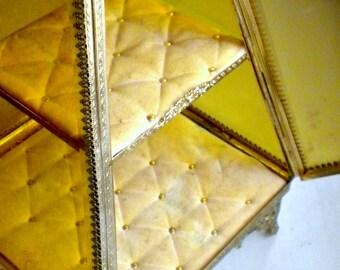 Circa 1950s, French Vitrine Casket Cabinet, Amber Beveled Glass, Tufted Velvet Gold Filigree