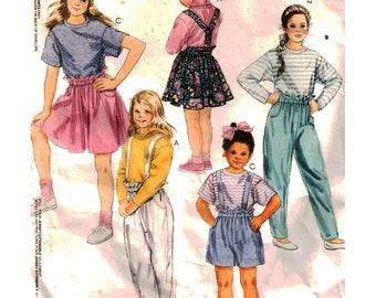 McCalls Sewing Pattern 5455 Girl's Top, Skirt, Pants, Shorts, Suspenders  Size:  CH  7-8-10  Used