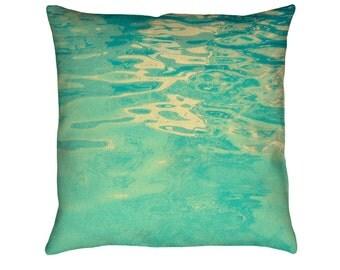 Summer Waters Printed Throw Pillow. Cushion Cover, Apartment and Dorm Decor, Sofa Cushion, Swimming, Water, Aquatic, Surf, Tropical Decor