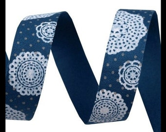 Cotton tape 16 mm - Designblumen blue