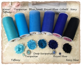 SAMPLES Blue and Turquoise Tulle, chiffon flowers and Satin Ribbon