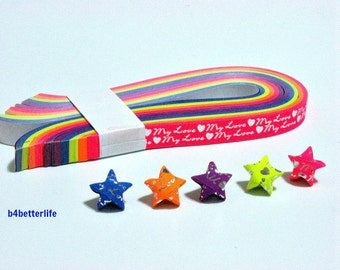 """Pack of 200 Strips Mini Size Luminous Hot-Stamping Lucky Stars Origami Paper Kits. """"My Love"""" 24.5cm x 1.0cm. #HS110. (HS paper series)."""