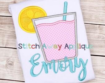 Lemonade Glass Summer Machine Applique Design