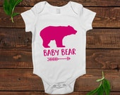 baby bear shirt - pink baby girl gift - one piece outfit
