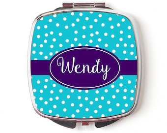 Personalized Maid of Honor Gift - Personalized Compact Mirror - Turquoise Purple Wedding Maid of Honor Gifts