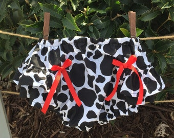 Clementine: Cow Print Baby Girl Diaper Cover Bloomers