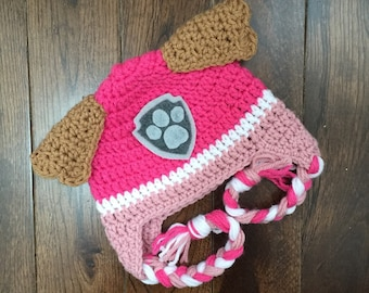 Skye Paw Patrol Crochet Character Hats, Dog Hat, Made to Order, Cartoon Outfit, Newborn Baby Child Adult, Photography Prop