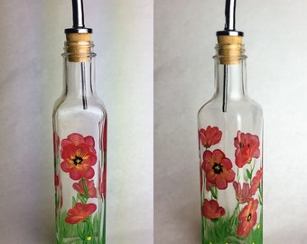 Poppies in Bloom- Oil Dispensing Bottle with Spout