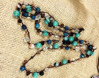 Hand crochet, natural stones, turqoise, agates, crystals.
