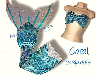 Swimmable Mermaid Tail w/monofin included. Coral edition by Mermaidreams