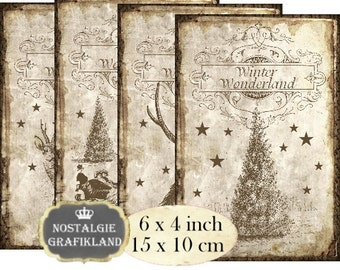 Winter Wonderland Deer Reindeer Christmas Sleigh 6 x 4 inch Instant Download digital collage sheet D227