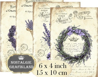 French Lavender Wreath Provence Labels Herbs 6 x 4 inch Instant Download printable digital collage sheet D213