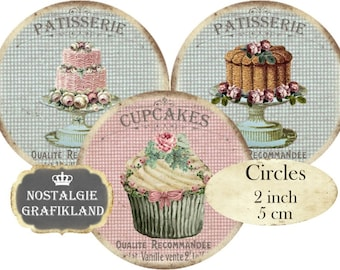 Patisserie Shabby Chic Cupcakes Muffins Bakery Circles Instant Download digital collage sheet C145