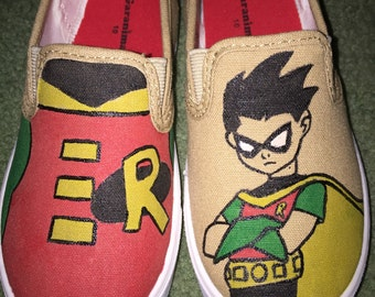 Batman & Robin Kids Hand-Painted Shoes