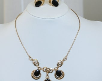 c1950s Vintage 12k Gold Filled Onyx Necklace Pendant & Earring Set Mid Century