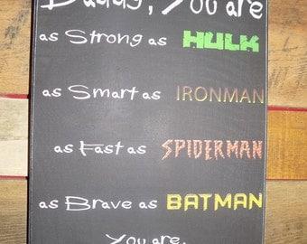 "12""X15"" ""super hero daddy"""