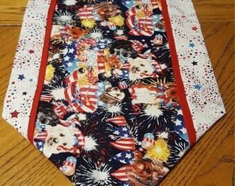 Patriotic Dog Table Runner - Reversible