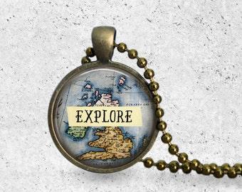 Explore, Map Pendant, World Map Necklace, Map Jewelry, Explore Necklace, Travel Necklace, World Map, Map Necklace, Travel Jewelry, Discover