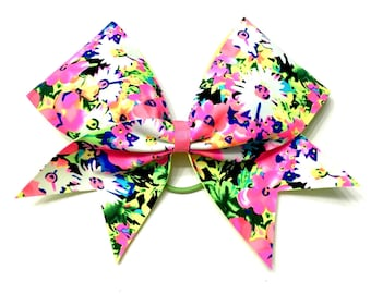 Cheer Bow- Neon Spring Flowers